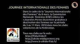 « Journées Portes Ouvertes » gratuites à destination des femmes sur la période du 3 au 11 Mars  2018 dans tous les clubs volontaires de la Fédération Française d'Aïkido et de Budo.
